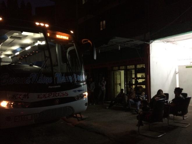 Kilimanjaro Express downtown bus stop at 5 AM.